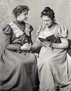 Helen Keller (famous blind-deaf person) with Anne Sullivan in 1898. Licensed in the Public Domain.